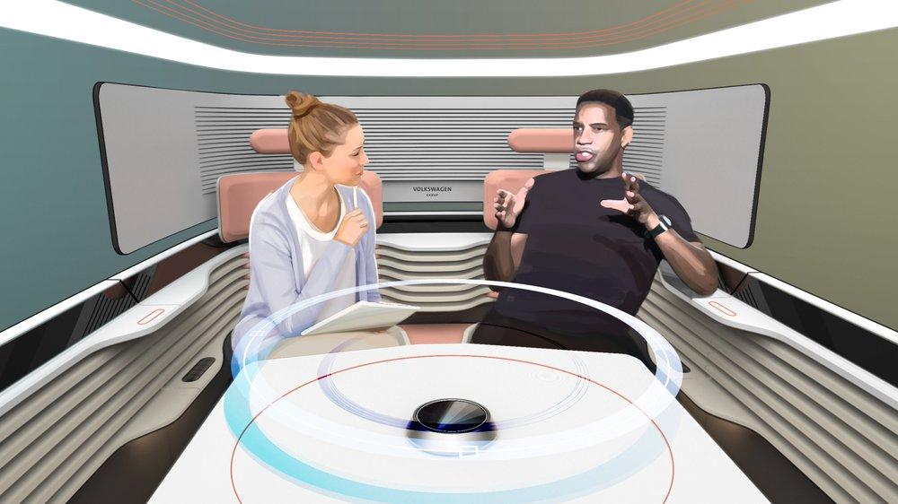 Interview scenario, hologram in use