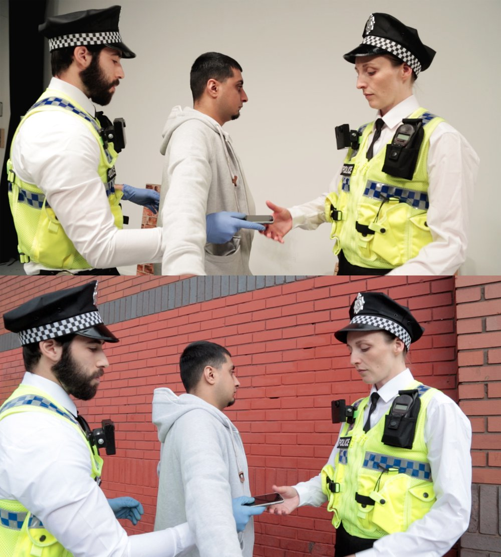Officers performing stop and search. (movie stills)