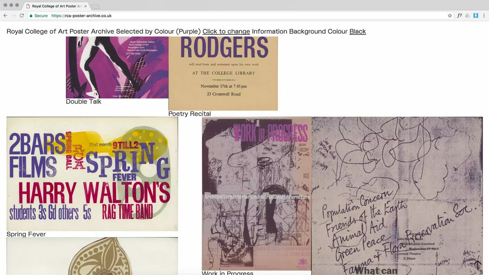 Landing Page of the RCA-Poster-Archive, showing a selection of posters of the colour purple.
