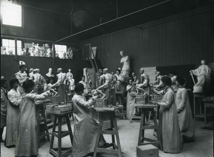 This photograph of 1905 shows the female Modelling students at work, a scene typical  of Annie Acheson's studies at the College. Photograph from RCA Archive, photographer unknown.