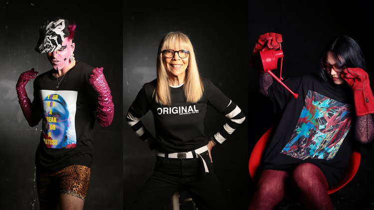 Images (left to right): T-shirt designs by: Adam Frost, Yvonne Gold (design worn by Penelope Tree) and Lei Jiang