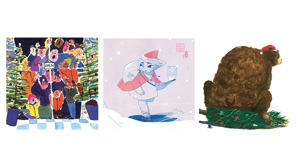 Tate RCA Christmas Cards (left to right): 'Gran's Knitwear' by William Davey, 'Untitled (Santa)' by Jiun Huang, 'A Very Spoiled Christmas' by Yiyu Lam