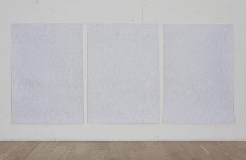 Three Panel Mesh Drawing with Erasures