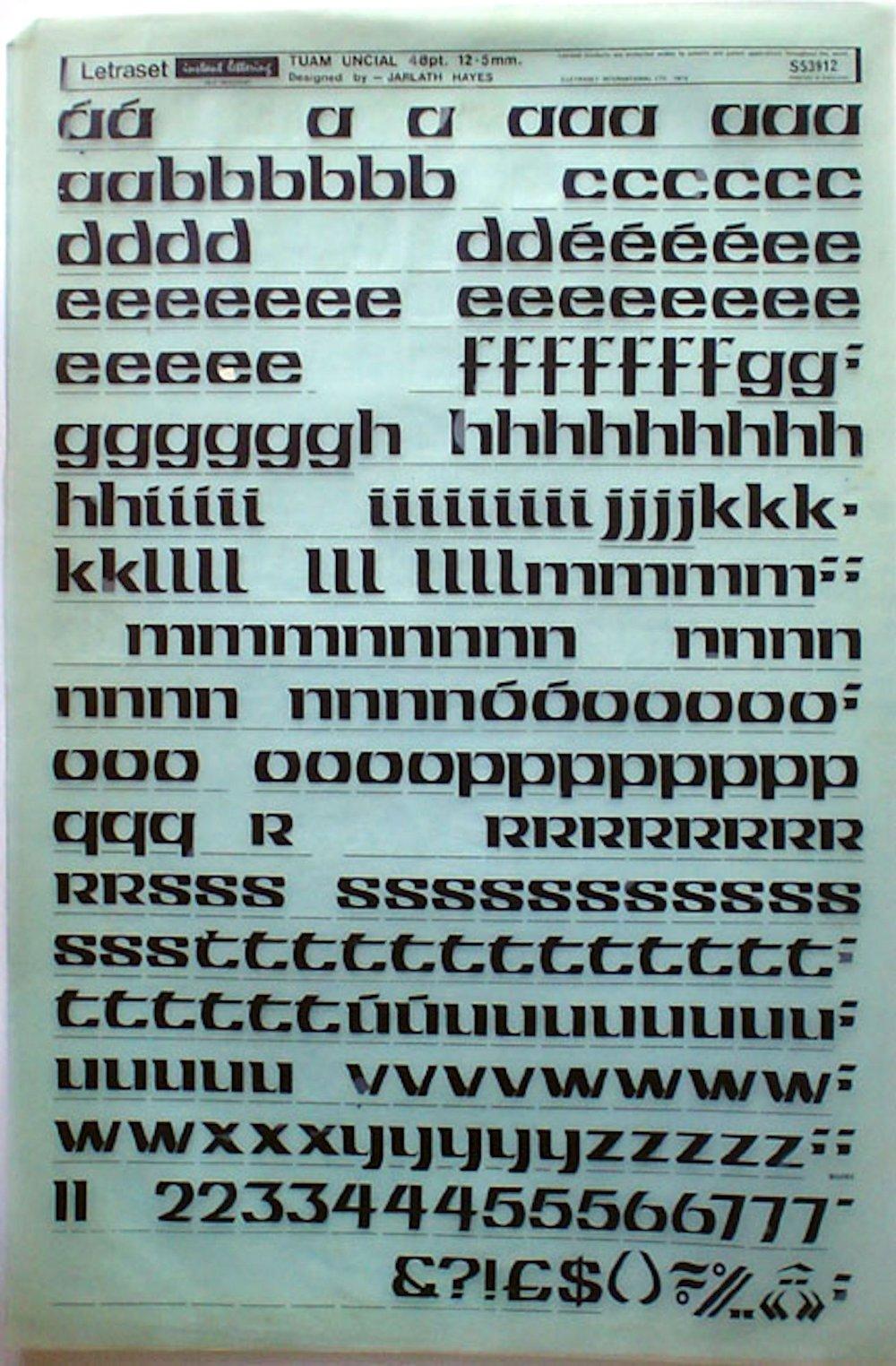 Tuam Uncial Letraset Sheet. Typeface designed by Jarlath Hayes, c.1974-78.