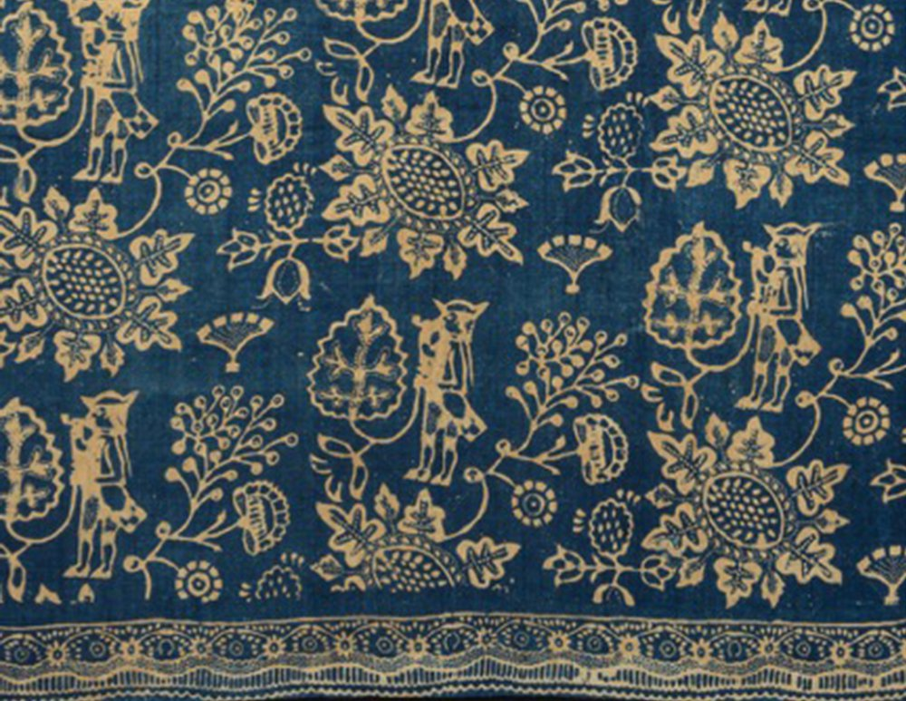 Resist printed cotton quilt, 2015.0027